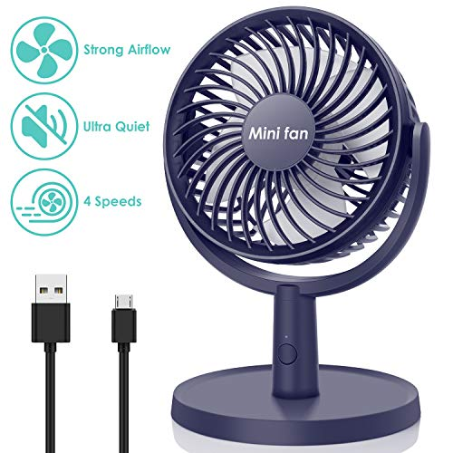 COMLIFE Mini Desk Fan, USB Operated Fan with 4 Speeds, Strong Airflow, Ultra Quiet Operation, 310 Adjustment, Portable Personal Fan for Home Office Desktop (Blue)