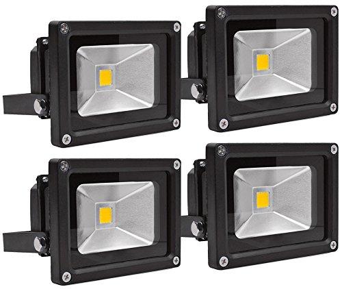 ALPHA DIMA 4pcs 10W LED Fluter Flutlicht Warmweiß IP65 Wasserdicht LED Außenleuchten Flutlichtstrahler Strahler Scheinwerfer(10W,Warmweiß)