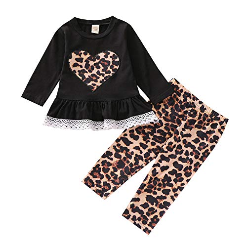 LUCSUN Conjunto de ropa para bebé niña de manga larga con volantes, túnica con estampado de leopardo, leggings para el día de San Valentín