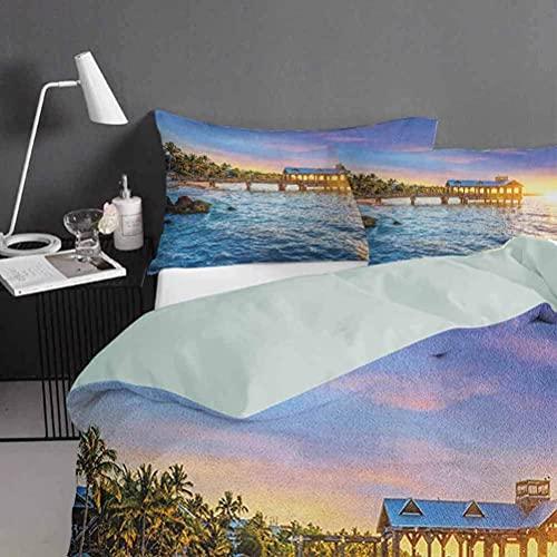 3D Stampa Digitale Copripiumino Set Copripiumino in Key West Beach Pier Hot Paradise, Florida Copripiumino singolo: incluso copripiumino matrimoniale 1: 135 * 200 cm 1 copricuscino: (48 cm * 75 c