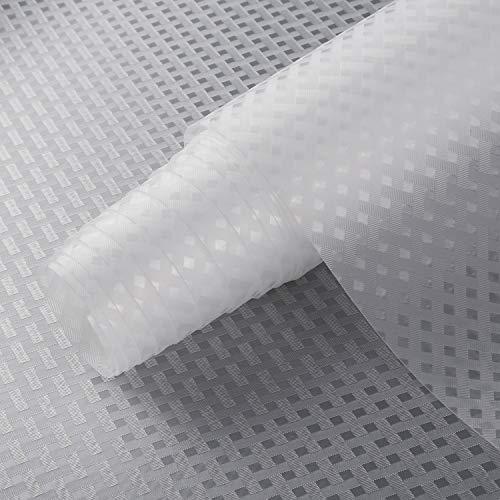 Alfombrillas de cocina Shelf Liner, no adhesivas, revestimiento de goma EVA para nevera, impermeables, duraderas, manteles individuales para armarios y cajones (transparente, 30 cm x 150 cm)
