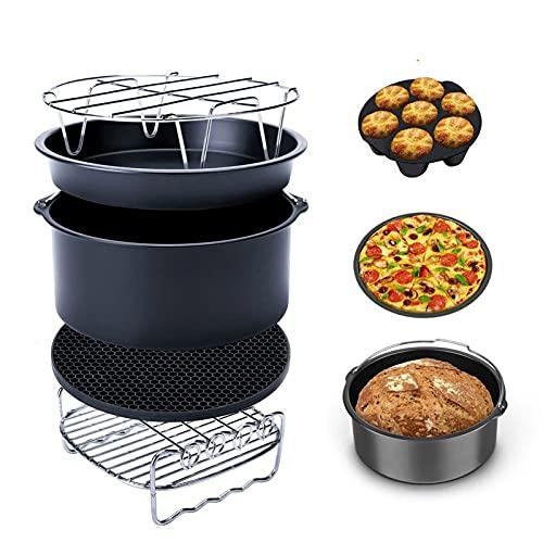 CHENSHJI Kit de Accesorios para freidora de Aire 24pcs 8 Pulgadas Freír Horneado Cake Pan Rack Pizza Tray Pot Tool Bricolaje Herramientas para Hornear (Color : 8 Inch, Size : 24 Pcs)