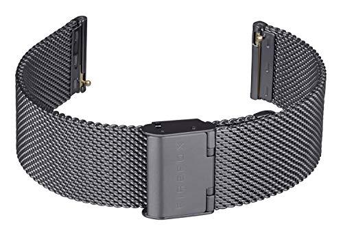 FIREFOX Mesh Ersatz- Uhrenarmband Milanaise Edelstahl schwarz Breite 20mm