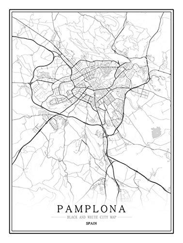 Feidazh Impresión en Lienzo España Pamplona Cuadro en Lienzo Modernos Mapa de la Ciudad Cuadro sobre Lienzo Blanco y Negro Pinturas Murales Arte Cuadro Decoracion para Salon Dormitorio 30x40cm