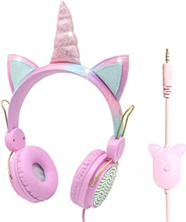 Bestmaple Unicorn Kids Headphones 3.5MM Audio Cable Cartoon Headband 85dB Volume Limited on Ear Headphones for Children, A...