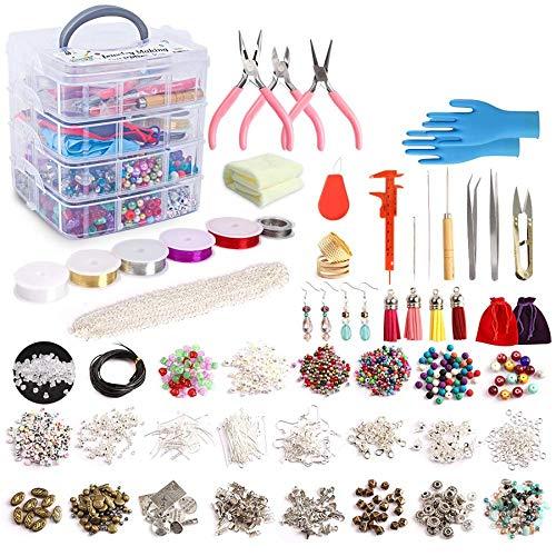 Iycorish - Kit de fabricación de joyas, suministros de joyería, incluye cuentas, cuentas, cuentas, cuentas de alambre para pulseras, collares, pendientes, gran regalo para niñas y adultos