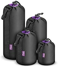 (4 Pack) Altura Photo Thick Protective Neoprene Pouch Set for DSLR Camera Lens (Canon, Nikon, Pentax, Sony, Olympus, Panasonic) - Includes: Small, Medium, Large and Extra Large Pouches