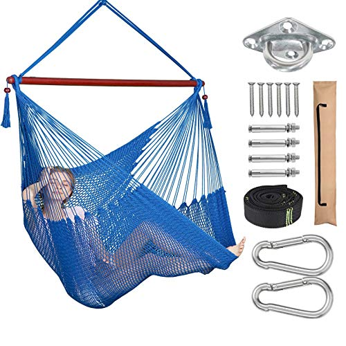 Greenstell Hammock Chair, Max 330 Lbs, Large Swing Chair with Hanging Hardware Kits & Strap, Soft...