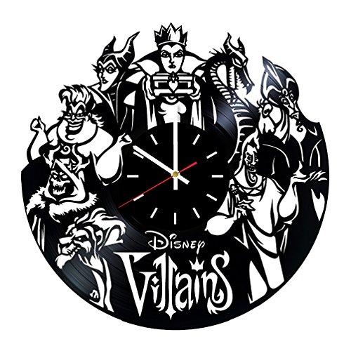 DecorByIvanna Villains Disney Vinyl Clock - Vinyl Record Wall Clock, Walt Disney Clock Maleficent The Evil Queen Ursula Wall Art Home Kids Room Wall Decor