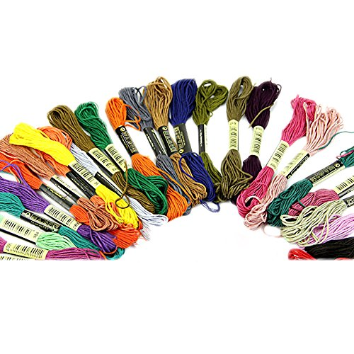 50Pcs Soft Cotton Cross Floss Stitch Thread Embroidery Sewing Skeins Random Color Stitch Sewing Threads Friendship Bracelets Floss Crafts Floss