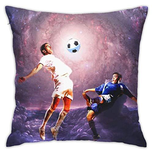 Funda de cojín decorativa para sofá de fútbol en el universo con cremallera, 45,7 x 45,7 cm
