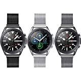 3 Pack Compatible with Samsung Galaxy Watch 3 45mm/Galaxy Watch 46mm/Gear S3 Frontier Classic Bands,Width 22mm Adjustable Stainless Steel Mesh Loop Replacement Wristband Strap Bracelet