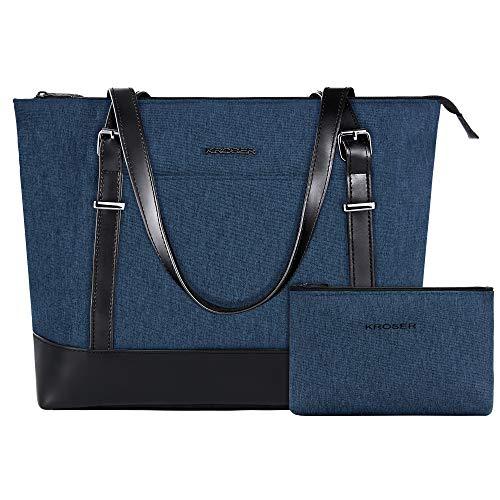KROSER Laptop Tote bag 15.6 Inch Large Shoulder Bag Women Stylish Handbag for Work/Business/School/College/Travel-Lake Blue