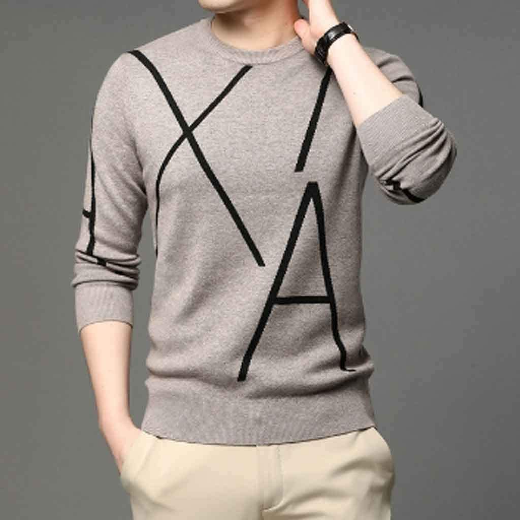 ZYING Knit High End Designer Winter Wool Pullover Black Sweater for Man Cool Autum Casual Jumper Mens Clothing (Color : B, Size : XL Code)