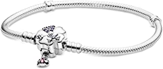 Pandora Women's Snake chain silver bracelet with flower and ladybug clasp with lilac crystal, purple cubic zirconia and pu...