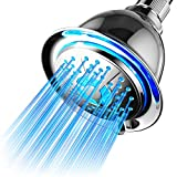PowerSpa All Chrome 4-Setting LED Shower Head with...