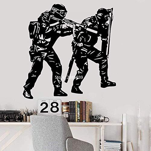 Police Swat Army Kids Home Dekoration Zitat Selbstklebende Vinyl Wohnzimmer Vinyl 84X87cm Kunst Zitat Wandaufkleber,entfernbare DIY Handwerk,Wohnkultur Wandtattoo,PVC Vinyl wasserdichtes Material Tape
