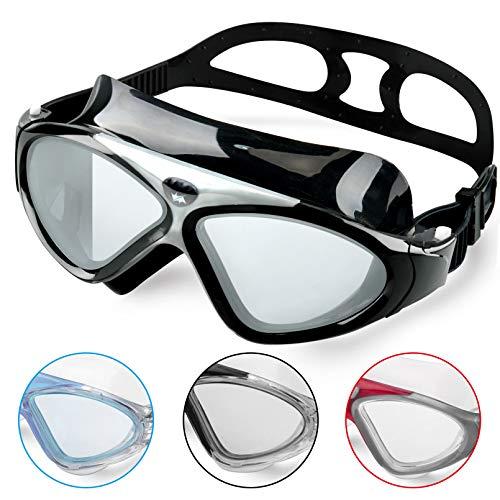 Occhiali da Nuoto per Adulto Anti Nebbia Nessuna Fuoriuscita Visione Chiara UV Protezione Facile da Regolare Professionale + Comodo per Uomo e Donna (Fullblack/Tinted Lens)