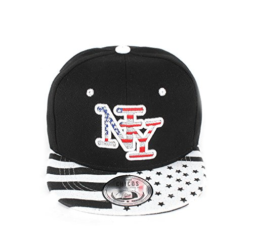 New Boy Girl NY New York süße Unisex Schwester Bruder Kindercap Hai Tiger Adler Prince Kinder Cap Snapback und Mütze 48-58cm Kopfumfang (One Size, NY Outline Black White)