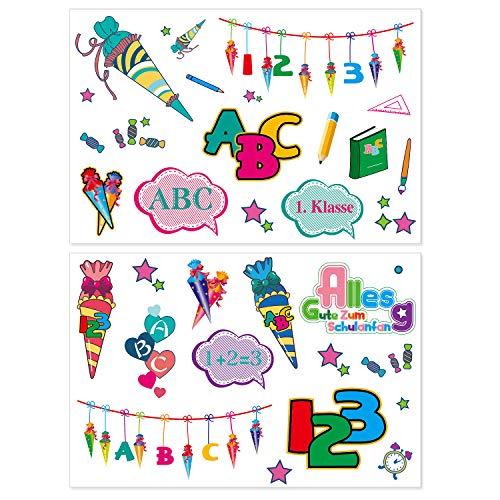 Oblique Unique® Kinder Tattoo Set für Schuleinführung Schulanfang Einschulung mit ABC Buchstaben Zahlen Zuckertüte temporäre Tattoos Kindergeburtstag Party Spielen