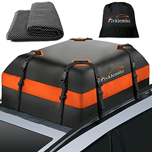 Fivklemnz Car Roof Bag Cargo Carrier, 15 Cubic Feet Waterproof Rooftop Cargo Carrier with Anti-Slip...