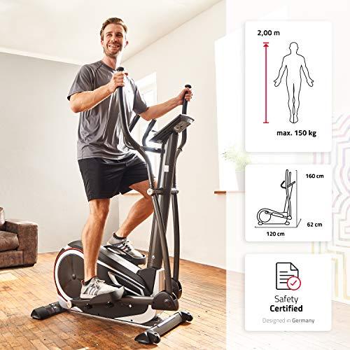 SportPlus Crosstrainer mit App-Steuerung, Google Street View, Wattanzeige, ca. 17kg Schwungmasse, 24 Widerstandsstufen, Handpulssensoren, Nutzergewicht bis 150kg, Sicherheit geprüft Bild 2*