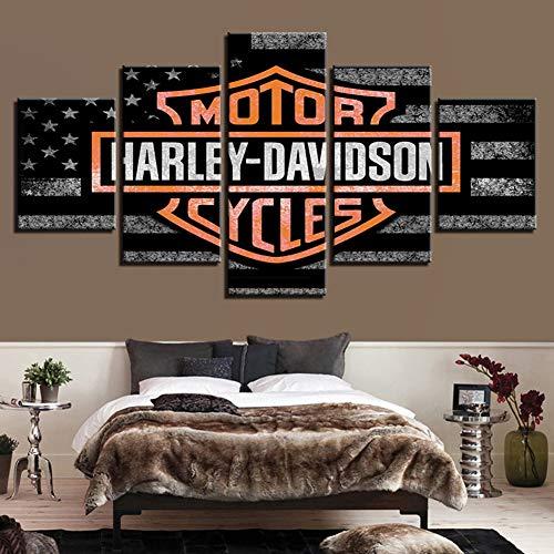 Drucke auf Leinwand 5 Panels Harley Davidson Motorrad Wand Kunstwerk Zeichen Büro Hauptdekorationen Malerei Kein Rahmen,A,100x200cm