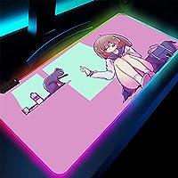 ゲーミングマウスパッドパープルRGBアニメかわいい女の子マウスパッド拡張大型ゲーミングマウスマットレーザーおよび光学式マウスと互換性があります800x300mm