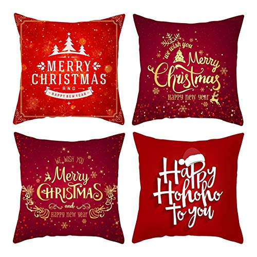 Rubyia Funda Navidad Cojin, Pack de 4 Fundas Almohada, Poliester 45 x 45 cm ( Merry Christmas Copo de Nieve, Rojo )