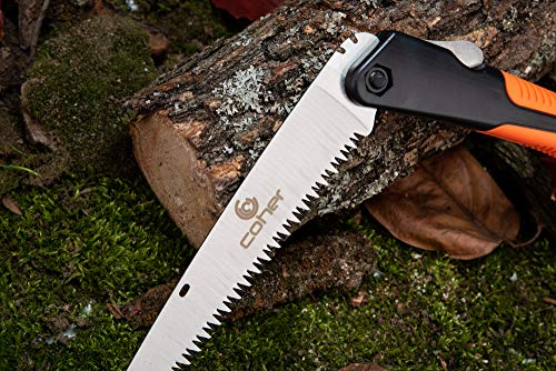 coher Folding Hand Saw for Tree Pruning, Camping, Gardening, Hunting. Cutting Wood, PVC, Bone with Ergonomic Handle Design