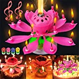 Rotating Lotus Cạndlê Birthday Cake Flower Musical Music Cạndlê Whit Music Magic, Birthday Cạndlê, Musical Birthday Cạndlê Rotating Lotus Cạndlê,Birthday Cake Cạndlê Decorations