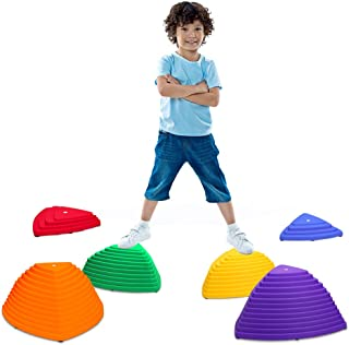 Balance Stepping Stones for Kids Play Indoor and Outdoor, 6PCS Non-Slip Colorful Stones Toys for Coordination and Gross Motor Development