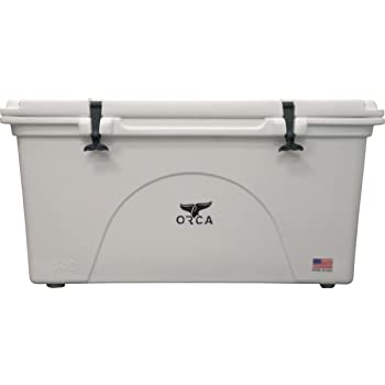 ORCA 75 quart Cooler, With Extendable flex-grip handles for comfortable solo or tandem portage, White
