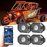 RGB Rock Light Kits, iPar Town 4 Pods LED Rock Lights Kits Multicolor Neon Light with Bluetooth APP Flashing Music Mode for Truck ATV UTV RZR SUV Car Off Road