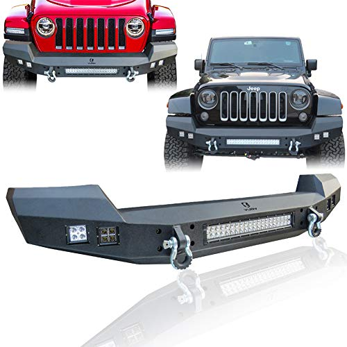 Hunter Front Bumper Texture Black with 5 LED Lights for 2007-2020 Jeep Wrangler JK/JKU/JL and 2020 Jeep Gladiator JT Truck