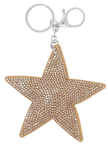 Schlüsselanhänger Stern Glitzer Anhänger Star mit Glitzer-Steinen, Anhänger für Damen und Kinder, Taschenanhänger, Kofferanhänger