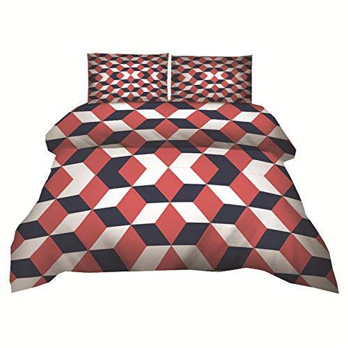 ACVMF Duvet Cover Set 3 Piece Red Geometric Pattern Print Duvet Set Bedding Set 102.36 x 86.61 inch 100% Polyester with 1 x Duvet Cover + 2 Pillowcases for Single Double King Super Super big