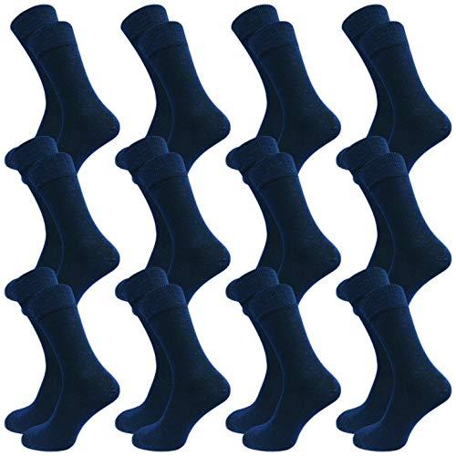12 Paar Herren Socken ohne Gummi - Business & Freizeit - weicher Komfort Bund - 80% Baumwolle (43-46, blau)