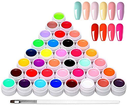 Anself Nail Gel Polish, 36 Colors x 8ML Nail Art Pigment Set Poly Gel Builder Polish Solid Glue Extension Gel with One Nail Brush Nail Art Accessories