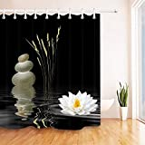 LB Zen Stone Shower Curtain,Hot Stones with Asian Lotus Flower Reflection in Water,Waterproof Fabric Black White Bathroom Curtains 72x72 Inch with Hooks