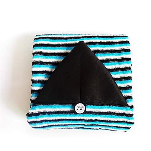 Correa para tabla de surf de 6 '/6 '6''/7'/9'6 ''/9'6 ''/calcetín elástico a rayas, funda protectora de almacenamiento (color: azul 7 pies)