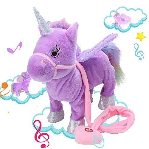Alpacasso Musical Unicorn Toys, Singing and Walking Pegasus Pony Electronic Toys. (Purple)