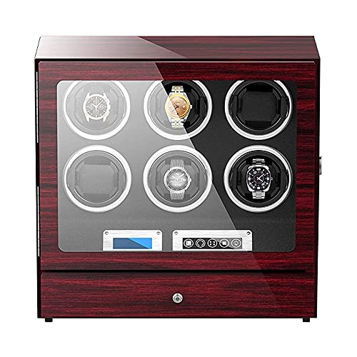 N&W Watch Winder Box for 6 Automatic Watch with Storage Drawer Adjustable Watch Pillows Touch Display Screen Quiet Motor (Color : Black)