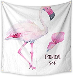 Tapestry Multi-Purpose Decorative Wall Hanging Watercolor Hand Painted Tropical Pink Flamingo and Calla Lily Flower Isolated on White Background Tapestry for Bedroom Living Room Dorm 54