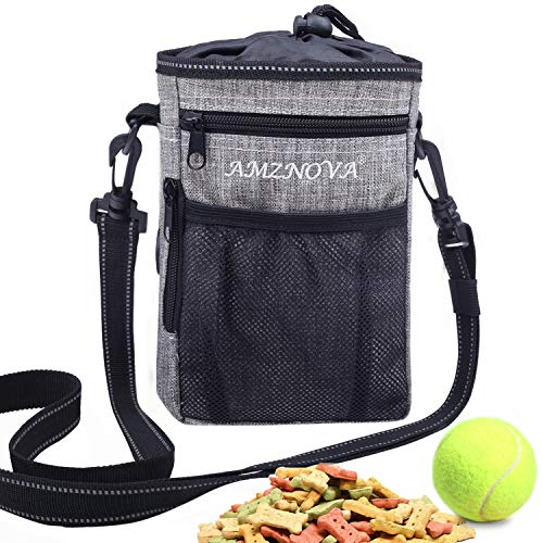 AMZNOVA Futterbeutel Hunde, Futtertasche für Hundetraining, Hunde Leckerlie Beutel mit Mehreren Taschen, 4 Tragearten, Heidekraut Grau