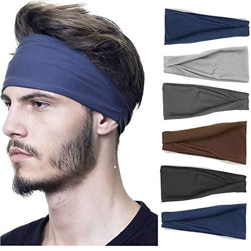 Headbands For Men/Women, 6 PCS Cotton Headbands Yoga Sports Headbands Elastic Non Slip Sweat Bands Workout Headband