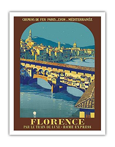 Florence, Italie - Ponte Vecchio - Chemins de fer de Paris-Lyon-Méditerranée (PLM) - Affiche voyage de Roger Broders c.1921 - Impression d'Art 28 x 36 cm