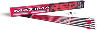 Carbon Express Maxima RED Fletched Carbon Arrows with Dynamic Spine Control and Blazer Vanes, 6-Pack