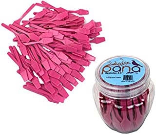 """Beauticom Pana Brand (Pink Color) (100pcs in a Container) Cosmetic Make Up Disposable Plastic 2.5"""" Spatulas Skin Care Facial Cream Mask Spatula"""
