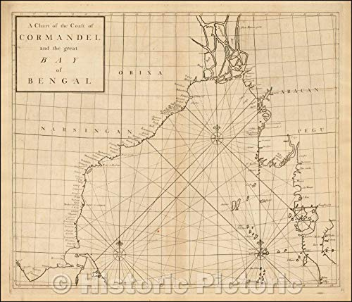 Historic Map - A Chart of The Coast of Coromandel and The Great Bay of Bengal, 1728, John Senex - Vintage Wall Art 44in x 38in